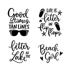 summer lettering set black hand lettered quotes vector image
