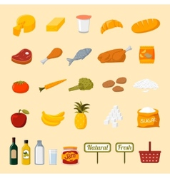 Supermarket food selection icons vector