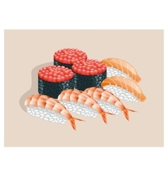 Sushi with caviar salmon and shrimp vector image