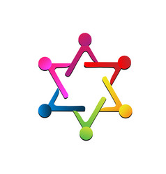 teamwork people representing a star icon vector image