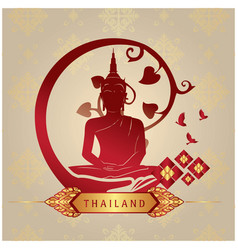 thailand buddha statue copper background im vector image