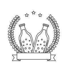 two beer bottle drink emblem vector image