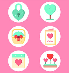 valentine day set icon sign symbol vector image