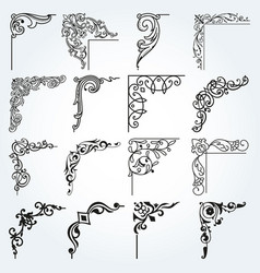 vintage design elements corners and borders set 2 vector image