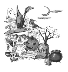 Vintage Halloween Invitation Card with Skull vector