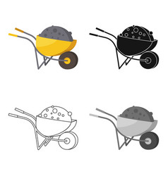 Wheelbarrow icon in cartoon style isolated on vector