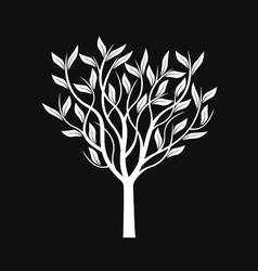 White tree with leafs vector