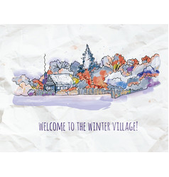 winter village sketch for christmas card or vector image