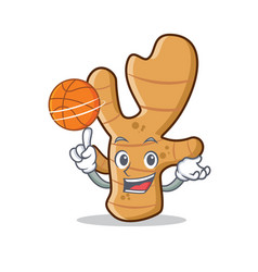 With basketball ginger character cartoon style vector