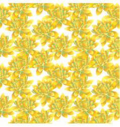 Yellow bud of lotus seamless pattern vector