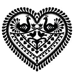 Polish folk art heart pattern for Valentines Day vector image vector image