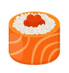 sushi roll - tasty food raw fish caviar rice vector image