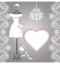 Wedding bridal dress with paisley border label vector image
