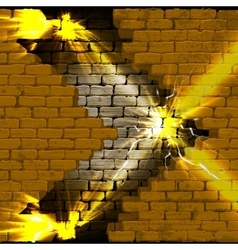 Brick wall with a gap and bright flash vector image