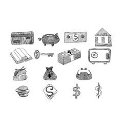 Icon set business and finance with money graphs vector image