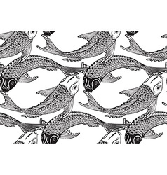 Seamless pattern with hand drawn Koi fish vector image vector image