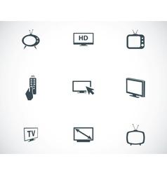 Black tv icons set vector