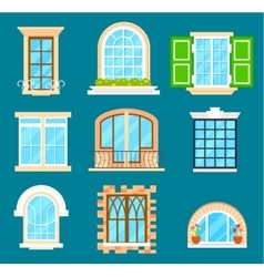 Detailed window set isolated vector