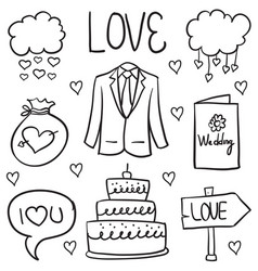 Doodle of object wedding various vector