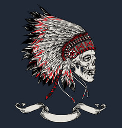 indian skull hand drawn vector image