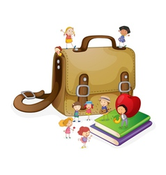 kids and bag vector image vector image