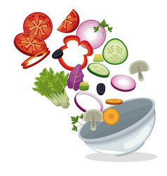 bowl salad vegetables lunch meal image vector image