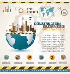 building and construction infographics icons vector image