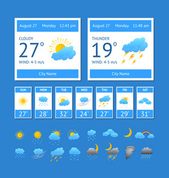 cartoon weather color element set vector image
