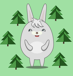 cute round rabbit in fir forest vector image vector image