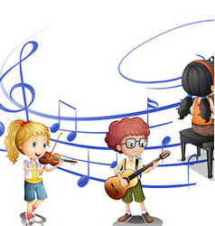 Many kids playing music together vector image