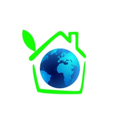 planet earth in the green house with leaf vector image