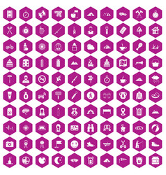 100 family camping icons hexagon violet vector