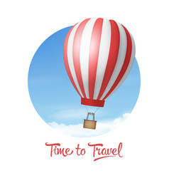 3d realistic red and white hot air balloon vector