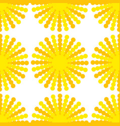 a seamless pattern of suns with yellow-orange vector image