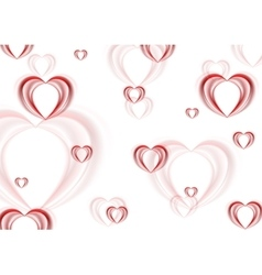 Abstract blurred red hearts background vector image