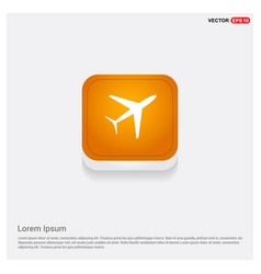 Airplane icon orange abstract web button vector