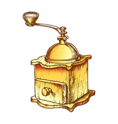 Ancient manual coffee grinder monochrome vector