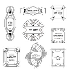 Art deco borders and frames wedding card banner vector