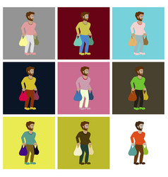 Assembly flat icons man on shopping with packages vector