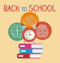 Back to school label with brain storming vector