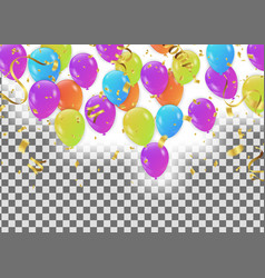 balloons colored confetti with ribbons and vector image