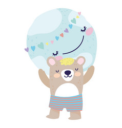 bashower cute bear with short pants with world vector image