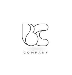 Bc monogram letter logo with thin black monogram vector