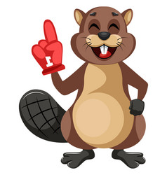 beaver with big glove on white background vector image