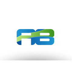 Blue green ab a b alphabet letter logo vector