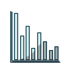 Blue shading silhouette of column chart vector