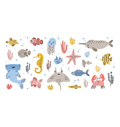 Bundle of happy adorable marine animals - narwhal vector