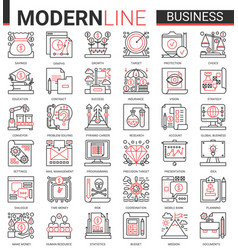 Business complex thin red black line icon vector