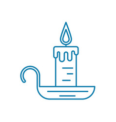 candle with candlestick linear icon concept vector image