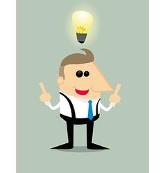 Cartoon businessman with idea vector image
